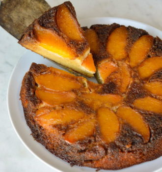 Caramel Peach Upside-Down Cake
