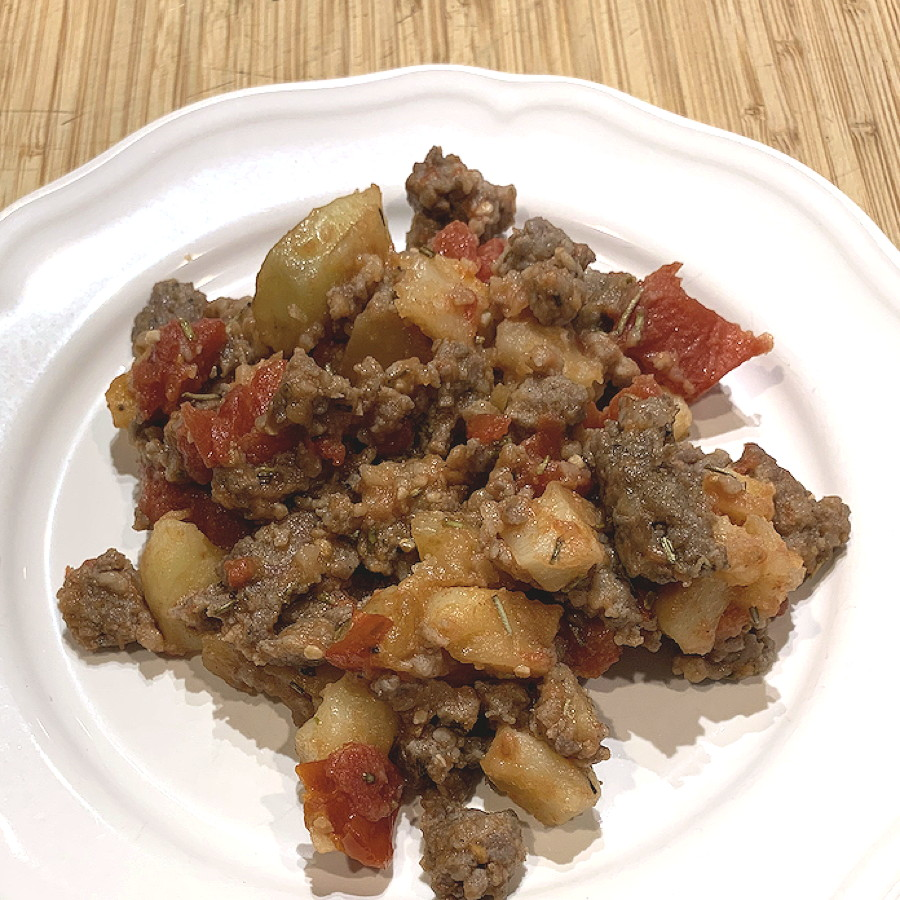 Sausage Hash with Tomatoes